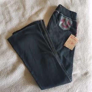 NWT True Religion Marissa Big T black sweat pants